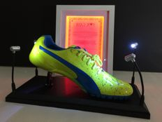 Usain Bolt - Rio Olympics sports shoe signed - Certificate of authenticity in an illuminated frame - Original display case