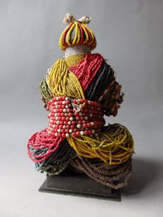 Large African fertility doll with beads, HAM PILU - FALI - Cameroon