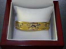 Bracelet in18 kt yellow gold (six panthers/jaguars in white gold) - 33.30 grams - 6 cm diameter