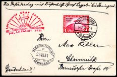 German Reich 1931 - airship Graf Zeppelin polar flight LZ 127 1 RM polar flight - on postcard to Leningrad - Michel 456