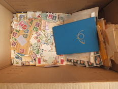 World - loose postal stamps, stamps on letter pieces, blocks, postal stamp album with sport stamps