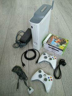 Microsoft XBOX 360 with 60GB Harddisk & Wifi adaptor - with 2 controllers and 6 games - Banjo & Kazooie, Forza III, etc