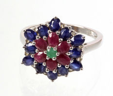 Sapphire - ruby - emerald ring