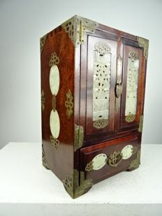 Wooden jewellery case set with jade, China, approx. 1970