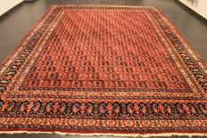 Antique hand woven Jugendstil Persian carpet Meshed, herald pattern, 280 x 390cm, made in Iran circa 1940