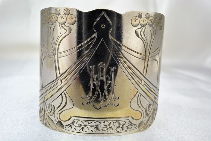 Sterling silver napkin rings, Russia, 1908-1917, Art Nouveau