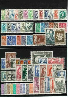 France 1944-1949 – Selection of 6 complete years – Yvert No. 599/862.