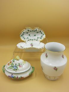 Herend vase, two bowls and a mini tureen