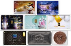 Lot of 6 GoldCards + 1  oz Andorra + 1 oz USA Buffalo - 0.60 g of 999.9  gold + 31 g of 999 copper + 31 g of 999  titanium - HAPPY CHRISTMAS - HAPPY NEW YEAR - HAPPY BIRTHDAY - GOLD CLUB -  LBMA Certificate  - Karatbars