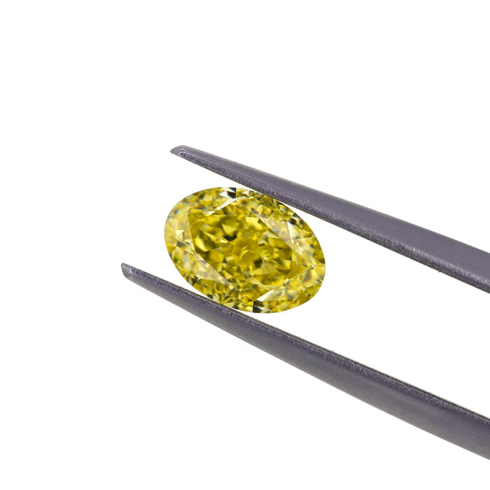 Natural Fancy Intense Yellow 1.24 ct. VS1 Oval shape Diamond, GIA