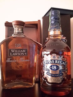 2 bottles - Chivas 18 years old & William Lawson's 18 years old Founder's Reserve