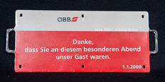 Millennium Metal plate: train sign and timetable, from Orient Express - 01.01.2000 - from the ÖBB