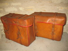 Set leather motorcycle bags 50's