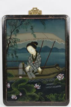 Eglomisé, painting behind glass - China - second half 20th century.