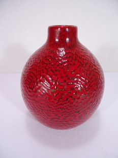 Paolo Venini (Murano) - straw red vase with murrine
