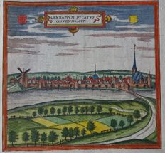 Gennep; Braun and Hogenberg / Blaeu / Merian - 5 images on 4 pages - 16th/17th century