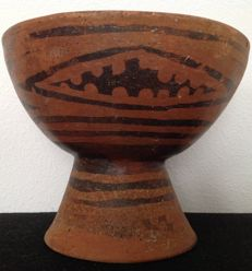 Pre-Columbian large Carchi-Narino culture bowl on a foot with decoration - Colombia - 18,5 cm diameter