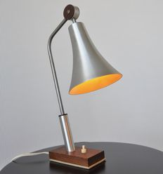 Philips – Vintage aluminium / wenge wooden table lamp