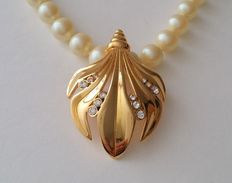 Vintage Hobé Majorca Pearl Necklace and  KJL Kenneth Jay Lane Enhancer-Pendant