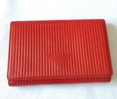 Red leather wallet by Armani