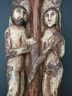 Carved wooden panel of Adam and Eve in paradise - Spain - 19th century
