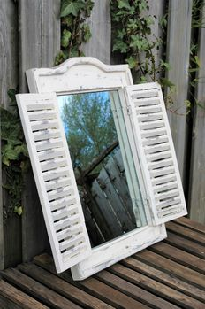 Old vintage look mirror with shutters, second half 20th century