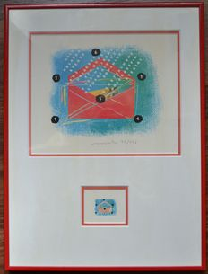 The Netherlands 1993 – Screen print with design and stamp NVPH 1572, framed