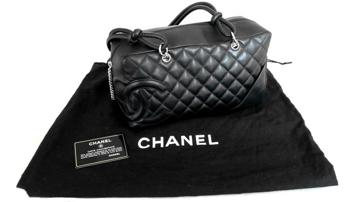 80dce1c57181 Chanel - Cambon Bowler bag shoulder bag black calf leather - Catawiki