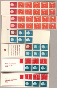 The Netherlands, 1964-1970, six stamp booklets, with variations
