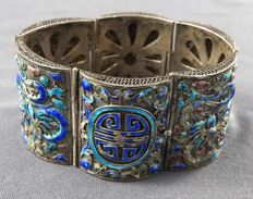 Silver bracelet with enamel decoration of dragons and good luck characters – China – around 1900