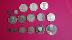 World - Lot of 16 coins (Belgium,Canada,Ceylon, India, France, Netherlands, U.S.A.) 1898/1989 - silver