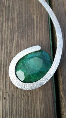 Sir Pol Paris – Emerald and silver necklace
