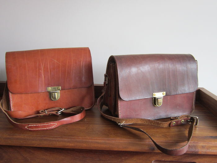 Leather conductors bags - authentic sturdy leather bags - 1920/1940