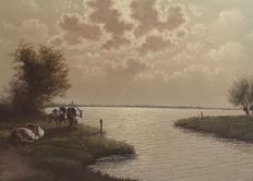 Unknown (20th century) - Cows on the lake at sunset