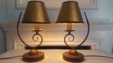Pair of two Bedworth traditional styled candle stick designed lamp base, ,second half 20th century