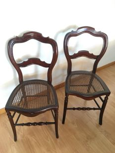 A pair of mahogany chairs, Catalan, Spain, late .19th Century