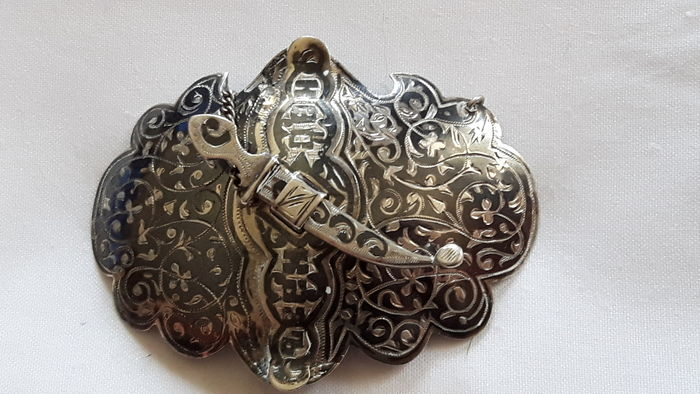Imperial Russia, niello silver belt buckle, late XIX century. Kaukaz