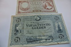 Netherlands - 25 guilder banknotes 'William of Orange' and 50 guilders 'Governor William III'