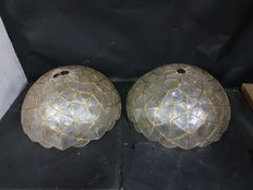 Unknown designer – Pair of 1950s ceiling lamps in the shape of a half orb, made from mother-of pearl and bronze