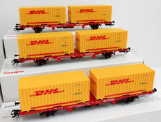 Märklin H0 - 47705 - Three container carriages 'DHL' of the DB Cargo