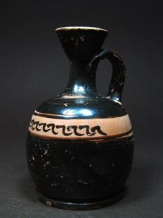 Greek Black-glazed Squat Lekythos – H. 11.4 cm
