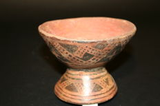 Pre-Columbian Art - Ceramic Cup with Refined Geometric Decoration? Height 100 mm Wide 140mm? Late Tolima Culture 700-1500 AD