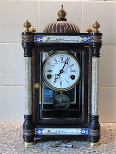 Chinese marble mantel clock – Cloisonné painting – second half of the 1900s