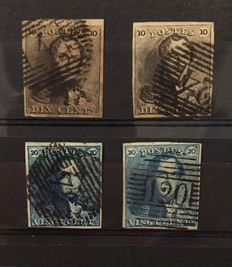 "Belgium 1849 – Selection of Leopold I ""Epaulettes"" – OBP 1/1a and 2/2a"