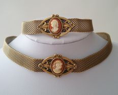 Brass Victorian Revival Art Deco Choker and Bracelet Set