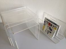 Designer unknown - Mimiset + magazine rack made of Plexiglas