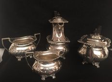 Tea and coffee set in four pieces in Edwardian Silver - Thomas Bradbury & Sons - London, and William Aitken - Birmingham - ca. 1905/1913