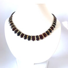 Necklace of Baltic amber slices - cherry and lemon colours- width 15 mm, length 48 cm