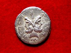 Roman Republic - M. Fourius Philus silver denarius (3,63 g. 20 mm.) minted in Rome, 119 B.C. Janus head / Victory with trophy of Cetic weapons.