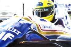 Ayrton Senna Williams FW16 Renault 1994 Helmet Cockpit F1 Car ORIGINAL Oil Painting on Canvas hand-made by Artist Andrea Del Pesco + COA.
